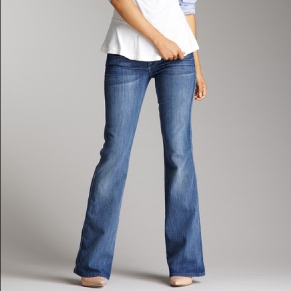 7 For All Mankind Denim - 7 For All Mankind Flare A Pocket Mid Rise Jeans 26